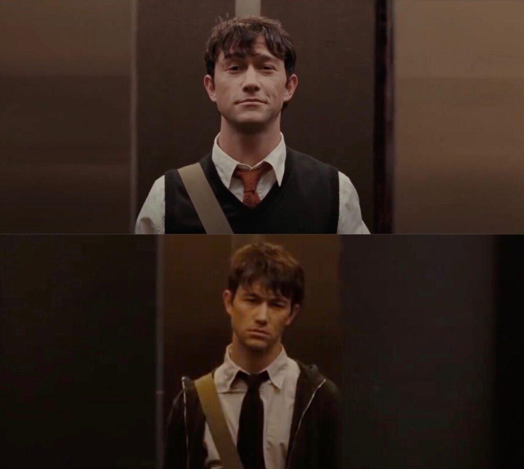 Deux photos de Tom entrain de sortir de l'ascenseur. Sur l'une il est souriant, sur l'autre déprimé.